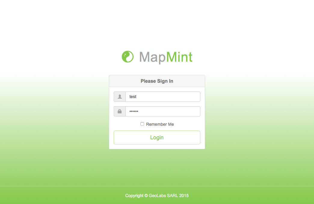 MapMint login screen